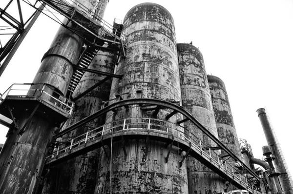 Photograph - Steel Mill In Bethlehem In Black And White by Bill Cannon