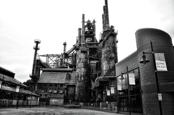 Photograph - Steel Mill In Black And White - Bethlehem Pennsylvania by Bill Cannon