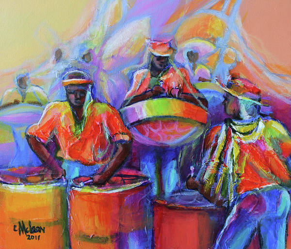 Abstract People Painting - Steel Pan Carnival by Cynthia McLean