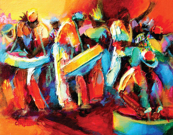 Trinidad Wall Art - Painting - Steel Pan Revellers by Cynthia McLean