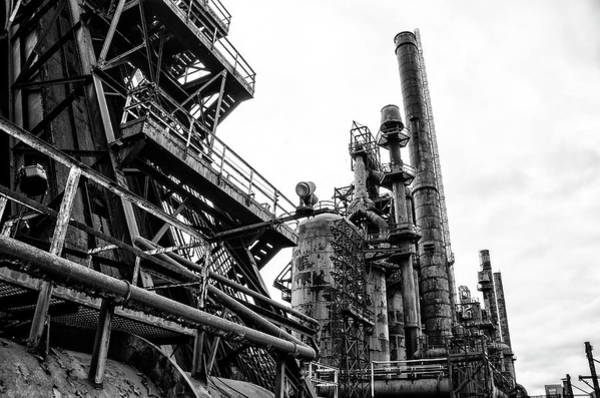 Photograph - Steel Plant - Bethlehem Pa In Black And White by Bill Cannon