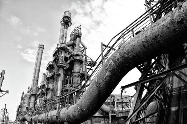 Photograph - Steel Stacks In Black And White by Bill Cannon