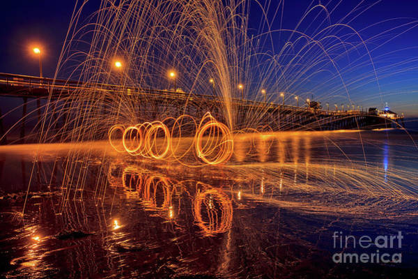 Photograph - Steel Wool Spinning At The Imperial Beach Pier by Sam Antonio Photography