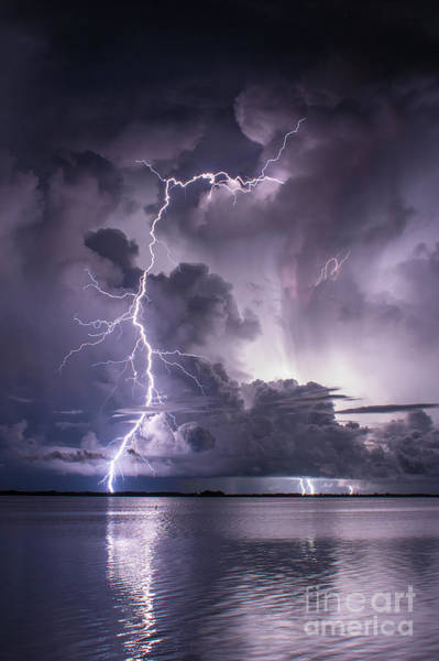 Lightning Bolt Photograph - Steely Blue 2 by Quinn Sedam