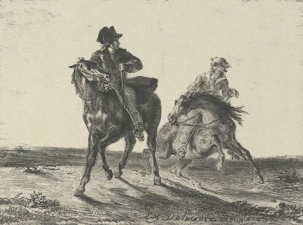 Relief - Steenie Or Redgauntlet Pursued By A Goblin On Horseback by Eugene Delacroix