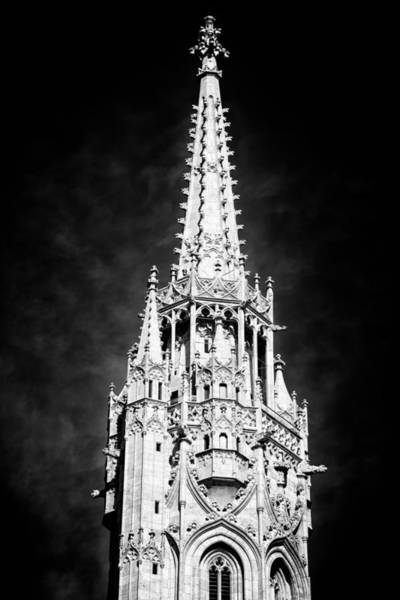 Photograph - Steeple Matthias Church Budapest Black And White by Matthias Hauser