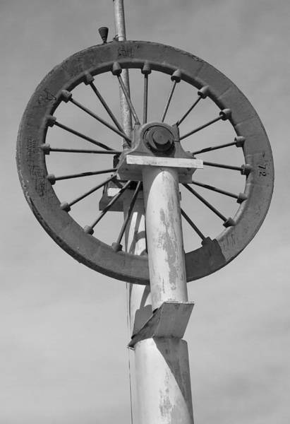 Wall Art - Photograph - Antique Wheel 3 - Black And White  by Steve Ohlsen