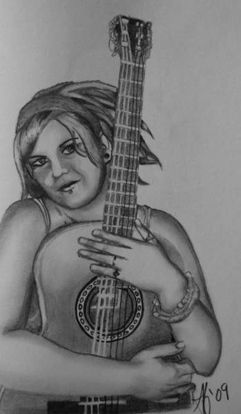 Wall Art - Drawing - Steffie And Her Guitar by Alycia Ryan