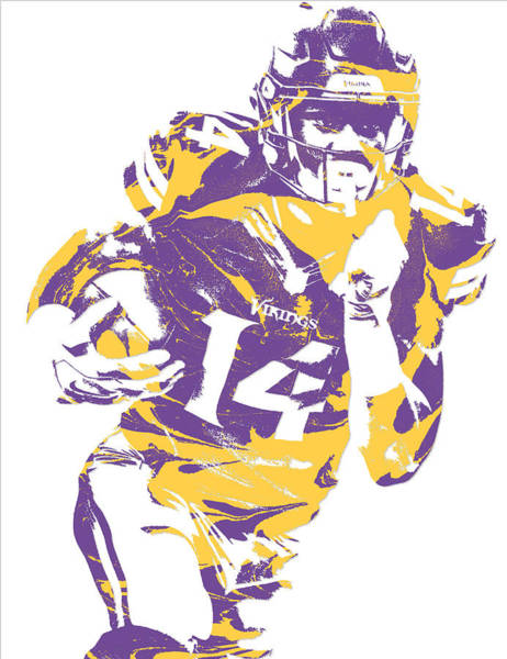 Super Bowl Mixed Media - Stefon Diggs Minnesota Vikings Pixel Art 2 by Joe Hamilton