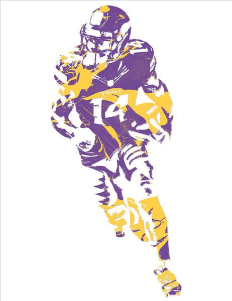 Wall Art - Mixed Media - Stefon Diggs Minnesota Vikings Pixel Art 3 by Joe Hamilton