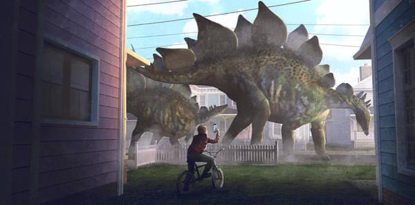 Scifi Wall Art - Painting - Stegosaurus by Guillem H Pongiluppi