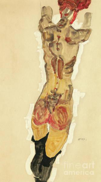 Bare Bottom Painting - Stehender Ruckenakt by Egon Schiele