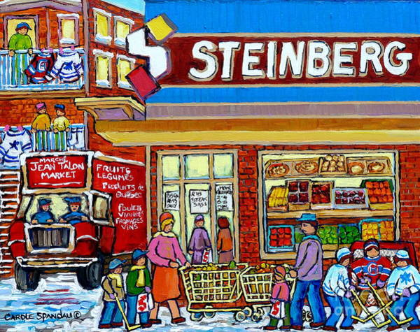 Painting - Steinberg Super Market Vintage Montreal Winter Scene Hockey Art Delivery Truck Carole Spandau        by Carole Spandau