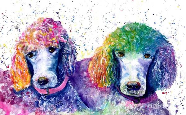 Poodle Wall Art - Painting - Stella And Violet by Raelene Vining