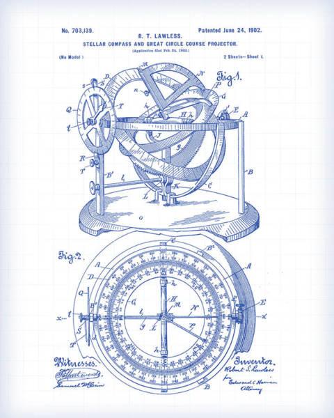 Schematic Wall Art - Digital Art - Stellar Compass Patent by Gary Grayson