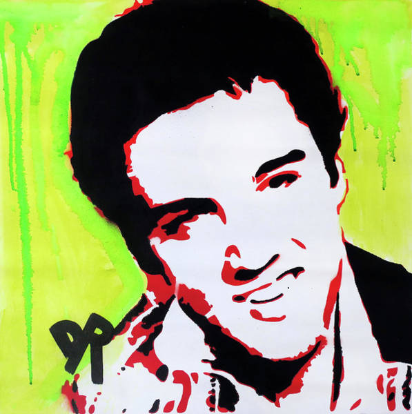 Stencil Painting - Stencil Elvis Green Drip by Dean Russo Art