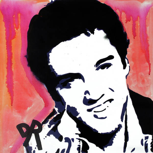 Stencil Painting - Stencil Elvis Red Drip by Dean Russo Art