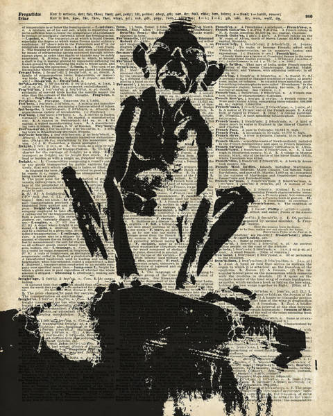 Wall Art - Digital Art - Stencil Of Gollum,smeagol Over Old Dictionary Page by Anna W