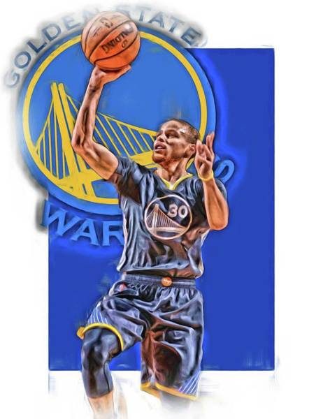 Nba Mixed Media - Stephen Curry Golden State Warriors Oil Art 2 by Joe Hamilton