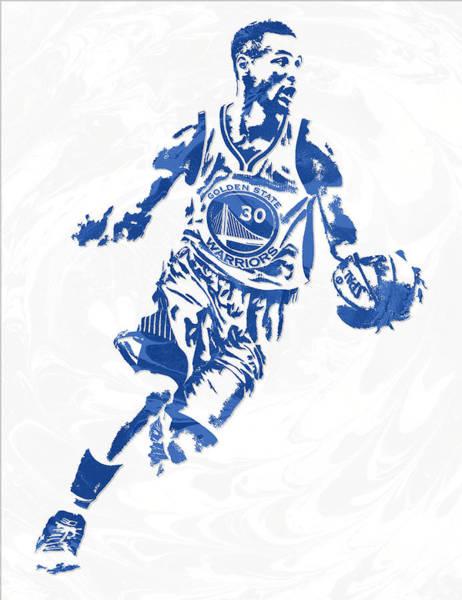 Golden Mixed Media - Stephen Curry Golden State Warriors Pixel Art 13 by Joe Hamilton