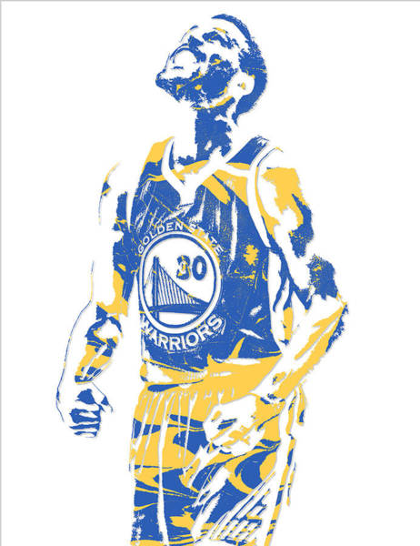 Golden Mixed Media - Stephen Curry Golden State Warriors Pixel Art 22 by Joe Hamilton