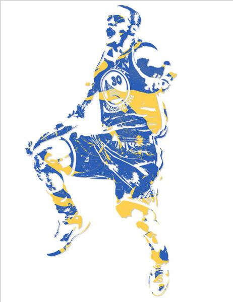 Golden Mixed Media - Stephen Curry Golden State Warriors Pixel Art 23 by Joe Hamilton