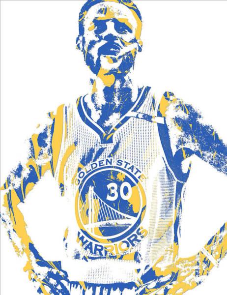 Golden Mixed Media - Stephen Curry Golden State Warriors Pixel Art 31 by Joe Hamilton