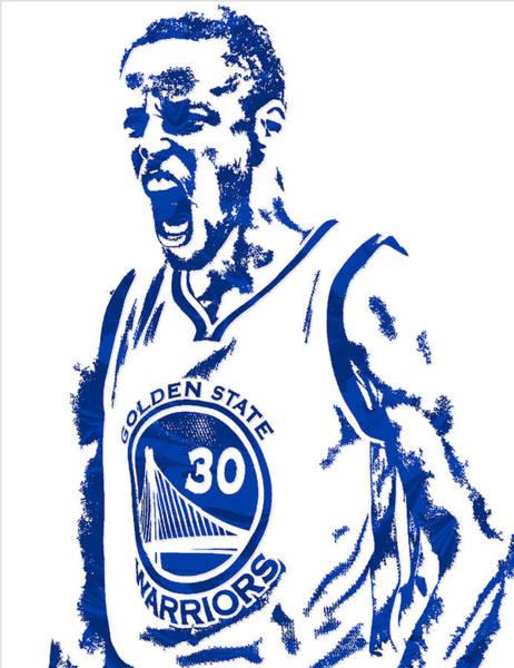 Golden Mixed Media - Stephen Curry Golden State Warriors Pixel Art 5 by Joe Hamilton