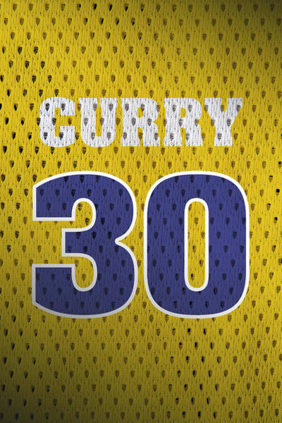 Golden Mixed Media - Stephen Curry Golden State Warriors Retro Vintage Jersey Closeup Graphic Design by Design Turnpike