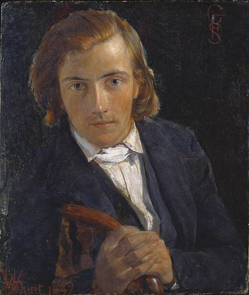 Wall Art - Painting - Portrait Of William Holman Hunt by F G  Stephens