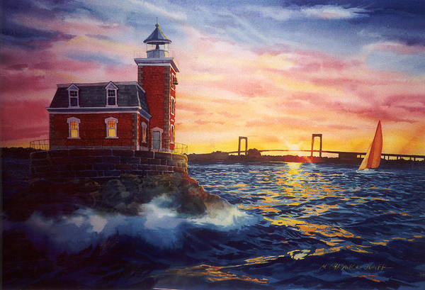 Lighthouse Painting - Steppingstones Light by Marguerite Chadwick-Juner