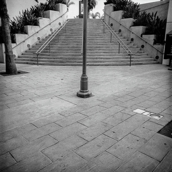 Wall Art - Photograph - Steps And Light Pole Parking Structure by YoPedro