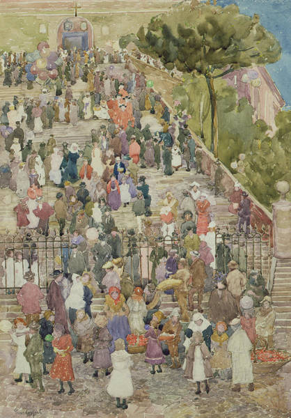 Church Of The Cross Painting - Steps Of Santa Maria Aracoeli by Maurice Brazil Prendergast