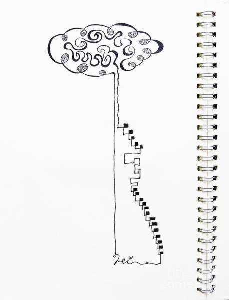 Drawing - Steps To The Clouds by Fei A