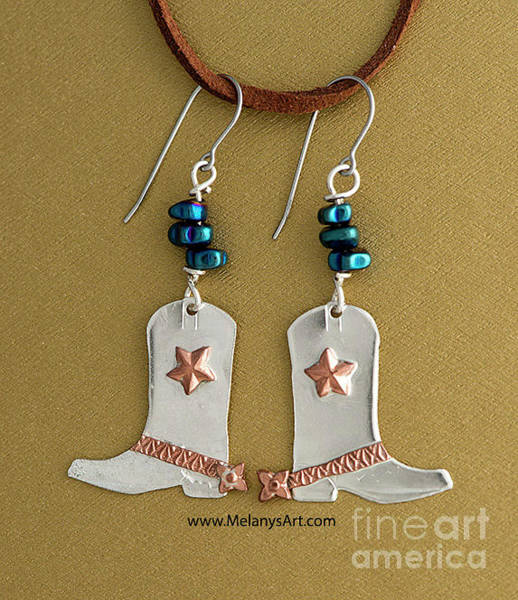 Sterling Silver Jewelry Wall Art - Jewelry - Sterling Silver And Copper Cowboy Boot Earrings by Melany Sarafis