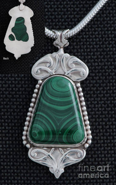 Jewelry - Sterling Silver And Malachite Art Nouveau Pendant by Melany Sarafis