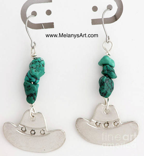 Sterling Silver Wall Art - Jewelry - Sterling Silver And Turquoise Cowboy Hat Earrings by Melany Sarafis