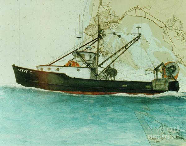 Warrenton Wall Art - Painting - Steve C Trawl Fish Boat Cathy Nautical Chart Map Oregon by Cathy Peek