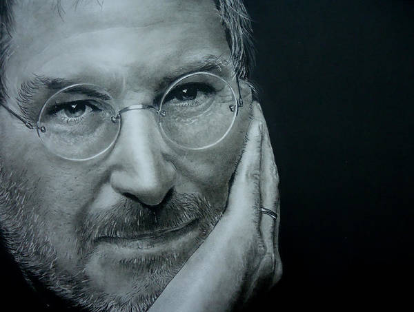Apple Drawing - Steve Jobs by Mickey Raina
