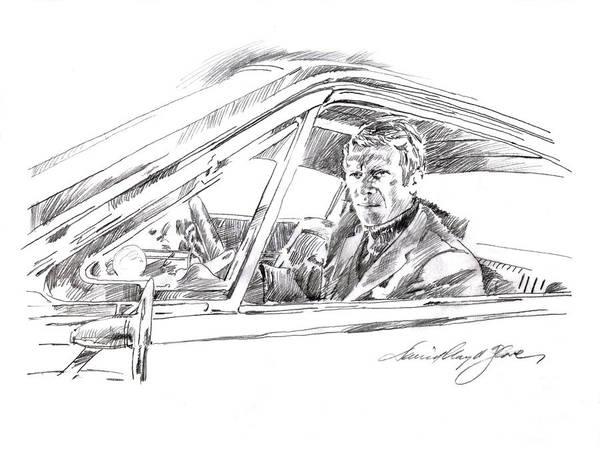 Wall Art - Drawing - Steve Mcqueen Bullitt by David Lloyd Glover