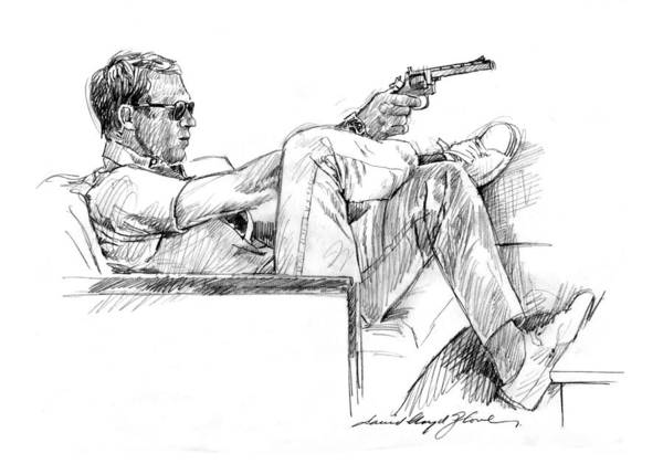 Drawing - Steve Mcqueen Colt 45 by David Lloyd Glover