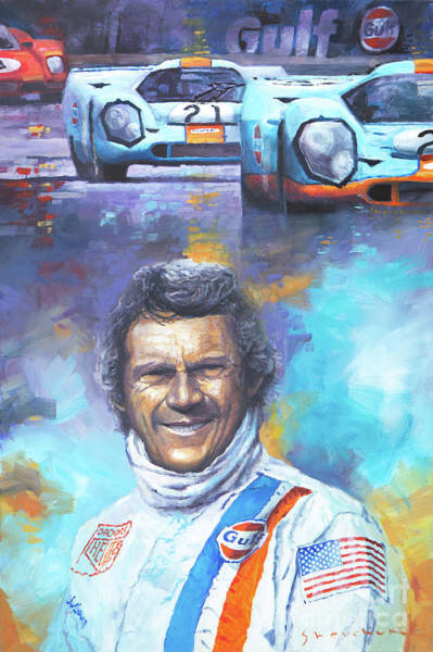 Porsche Painting - Steve Mcqueen Le Mans Porsche 917 by Yuriy Shevchuk