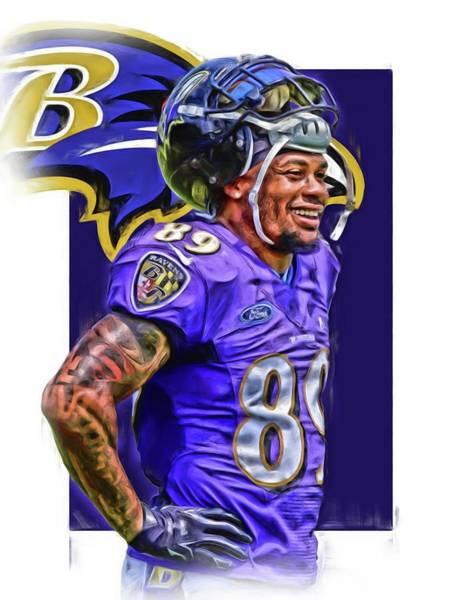 Wall Art - Mixed Media - Steve Smith Sr Baltimore Ravens Oil Art by Joe Hamilton
