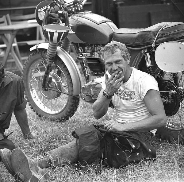 Triumph Photograph - Steve Mcqueen Triumph by Lanny Morris