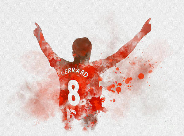 Premier League Wall Art - Mixed Media - Steven Gerrard by My Inspiration