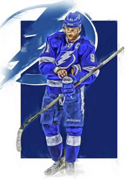 Wall Art - Mixed Media - Steven Stamkos Tampa Bay Lightning Oil Art Series 2 by Joe Hamilton