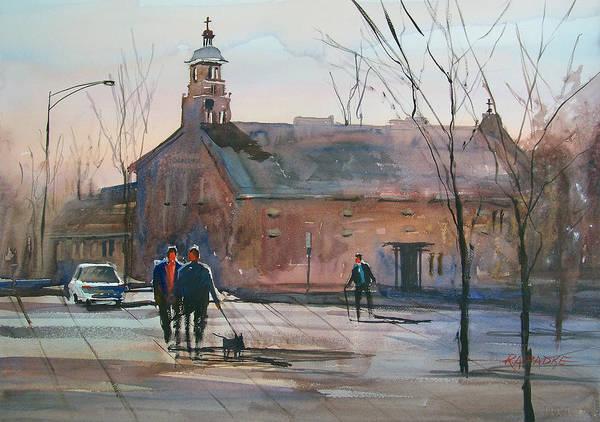 City Scene Painting - Steven's Point Church by Ryan Radke