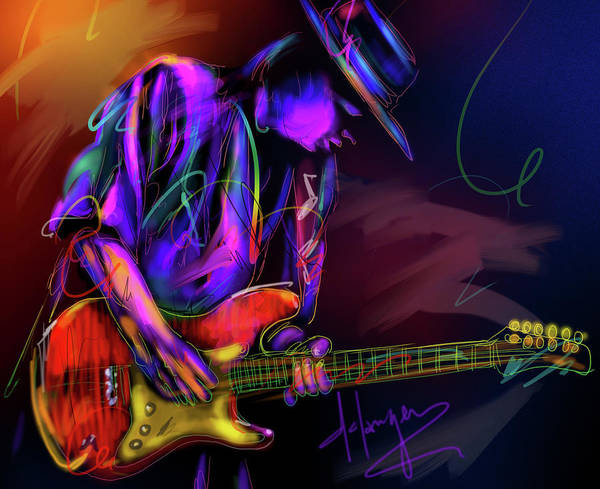 Sax Painting - Stevie Ray Vaughan by DC Langer