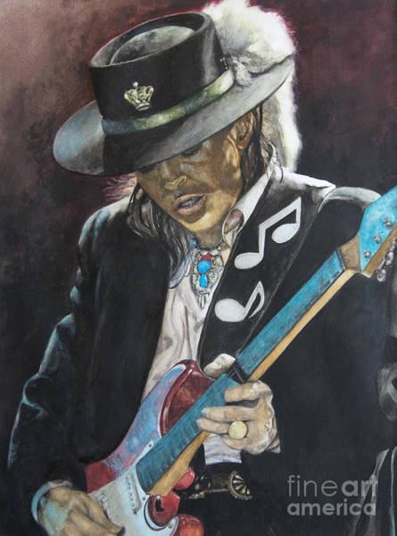 Guitars Painting - Stevie Ray Vaughan  by Lance Gebhardt