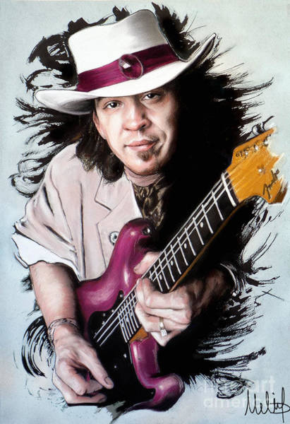Wall Art - Pastel - Stevie Ray Vaughan by Melanie D